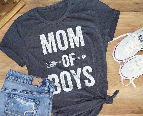 MOM OF BOYS - Feminine effortless t-shirt for woman, trendy tees for moms, super soft, poly cotton, silkscreen, white tee, heather grey