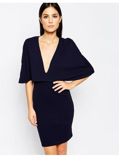 Club L Cape Overlay Dress - Navy
