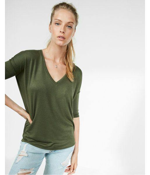 caad7893 Petite Express One Eleven Textured V-Neck London Tee Green Women's XS Petite