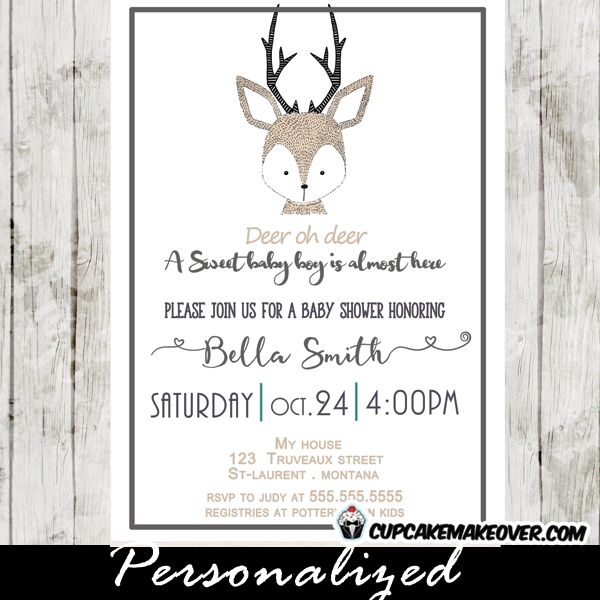 deer oh deer baby shower invitation featuring a cute hand drawn, Baby shower invitations
