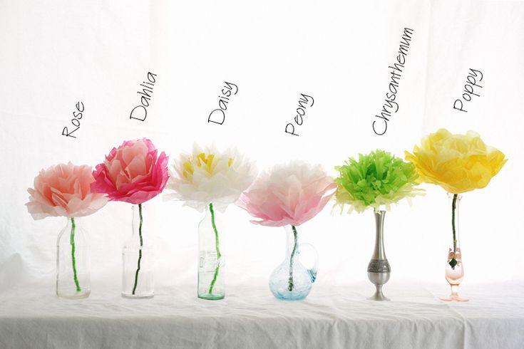 Rust & Sunshine: Tissue Paper Flowers ... http://rustsunshine.blogspot.com/2012/05/tissue-paper-flowers.html#