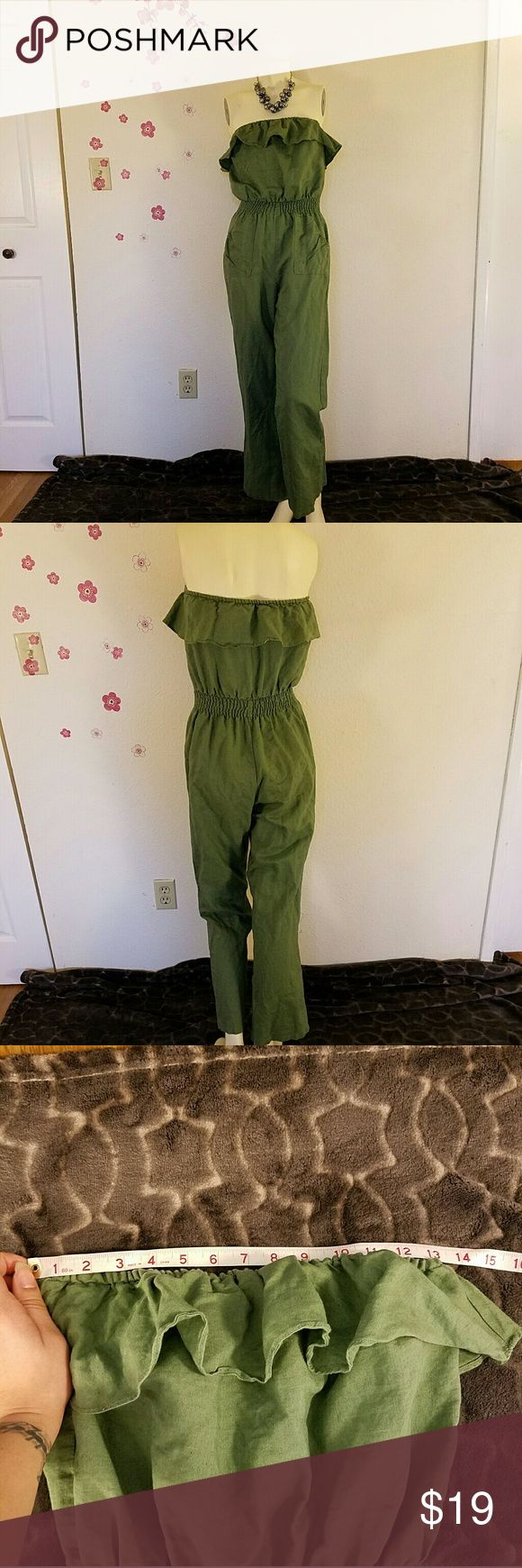 Sleeveless Green Jumper Sleeveless Green Jumper with free flowing bust. Waistline stretchy/adjustable   Photos include measurements; last 2 photos are measurements of inseam  *****necklace not included**** Pants Jumpsuits & Rompers