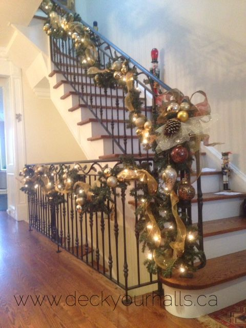 Christmas Staircase Garland Decorating homes and biz for the Holidays in Toronto.  www.deckyourhalls.ca