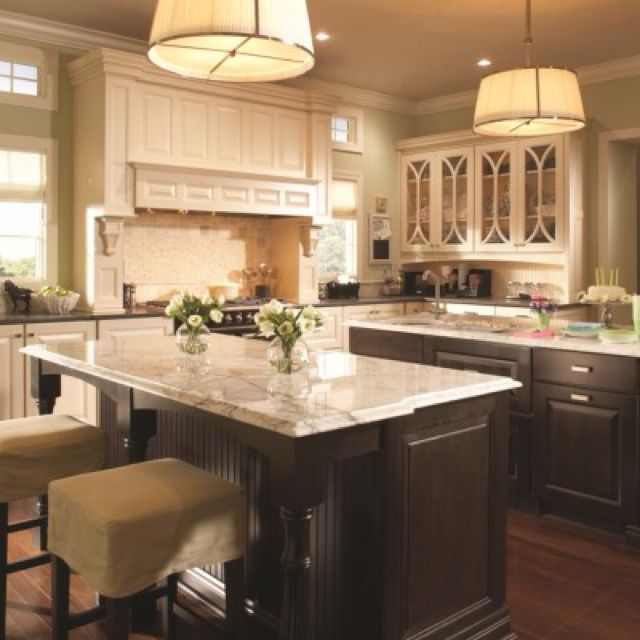White cabinets dark island dark floors light for Dark kitchen cabinets with light island