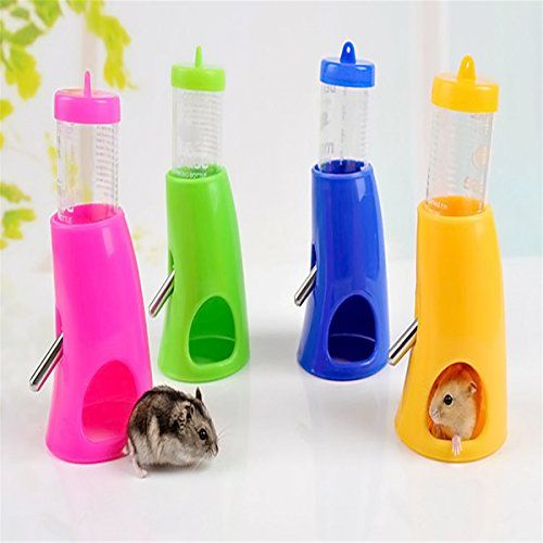 Coco*store 2 in 1 Hamster Water Bottle Holder Dispenser with Base Hut Small Animal Nest Toy