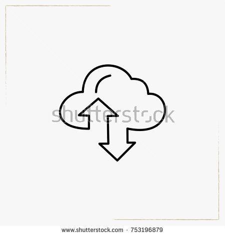 file transfer cloud line icon