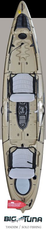 Jackson Big Tuna tandem kayak.  One of a kind livewell and seating options. Front seat can be turned to face the rear paddler--great for kids.