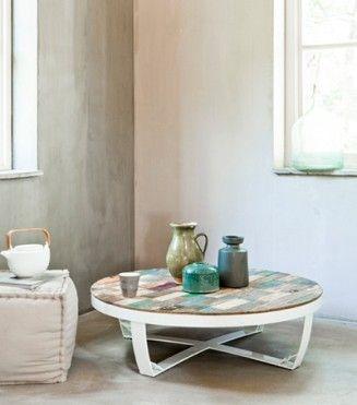 salontafel van oud teakhout en staal, #marcoboom #vtwonen #troubadour