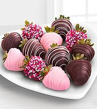 Chocolate Dip Delights™ Valentine Real Chocolate Covered Strawberries – 12-pie…