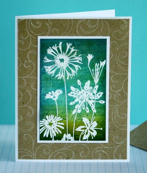 handmade card ... not too many adornments so it is mail friendly ... luv the colors of green and aqua in the background ... meadow flowers embossed in white show up beautifully ... the embossed brown base paper looks like a frame ... beautiful card ... Hero Arts ...