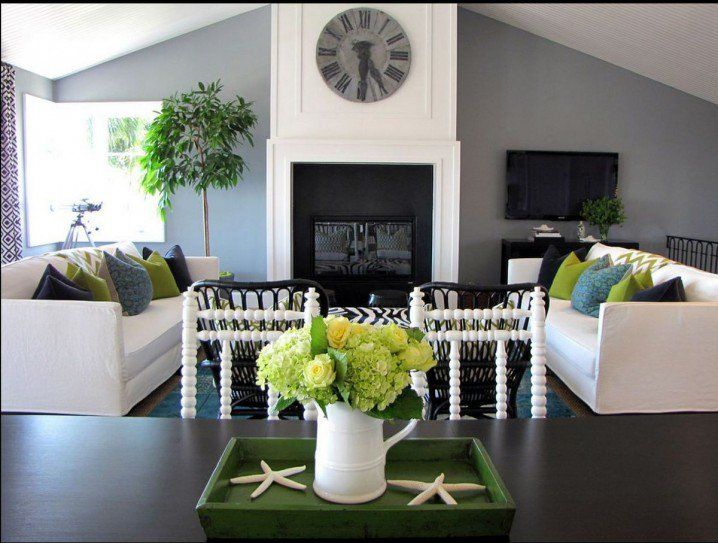 Green And Gray Living Rooms In The Spring Spirit