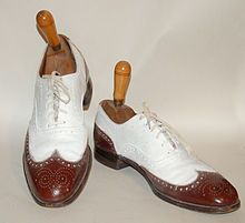 Oxfords - They are low laced shoes worn by students at Oxford University. There is lacing on the vamp, not the quarters. They have perforated leather edges.