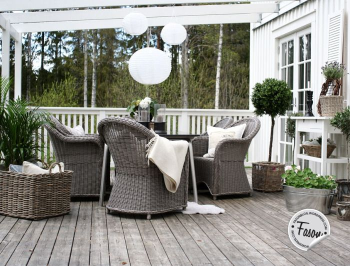 Wicker chair, shutters, Artwood tray, basket, lavender, buxwood, veranda, deck, New England / rustic style.