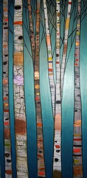 Eli Halpin Oil Paintings - Birch Trees in Metallic Emerald by Atomix Onyx