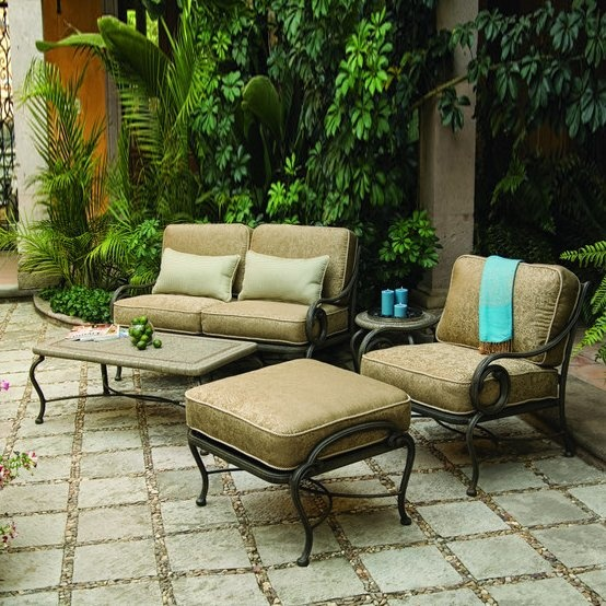 Woodard Landgrave Seven Piece Old Gate Outdoor Lounge Set