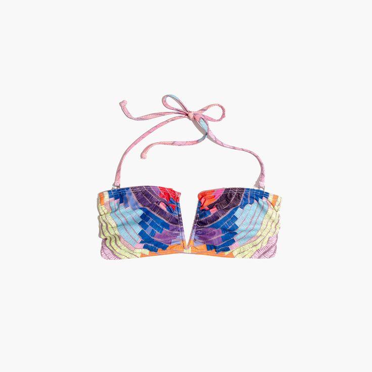 Madewell Mara Hoffman V-Wire Bandeau Bikini Top In Radial Print