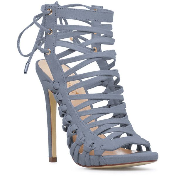 ShoeDazzle Sandals-Dressy - Single Sole Kaleena Womens Blue ❤ liked on Polyvore featuring shoes, sandals, blue, sandals-dressy - single sole, caged shoes, fancy sandals, lace up shoes, lace up sandals and fancy shoes