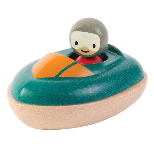 Plan Toys - Drewniana motorówka - zabawka do kąpieli