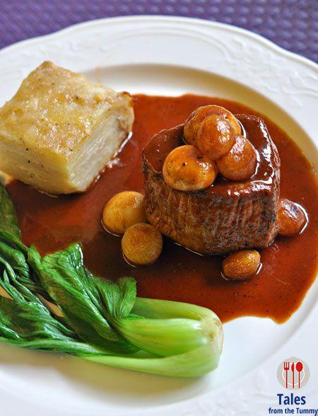 Grilled Ostrich Steak in Bourginion Sauce