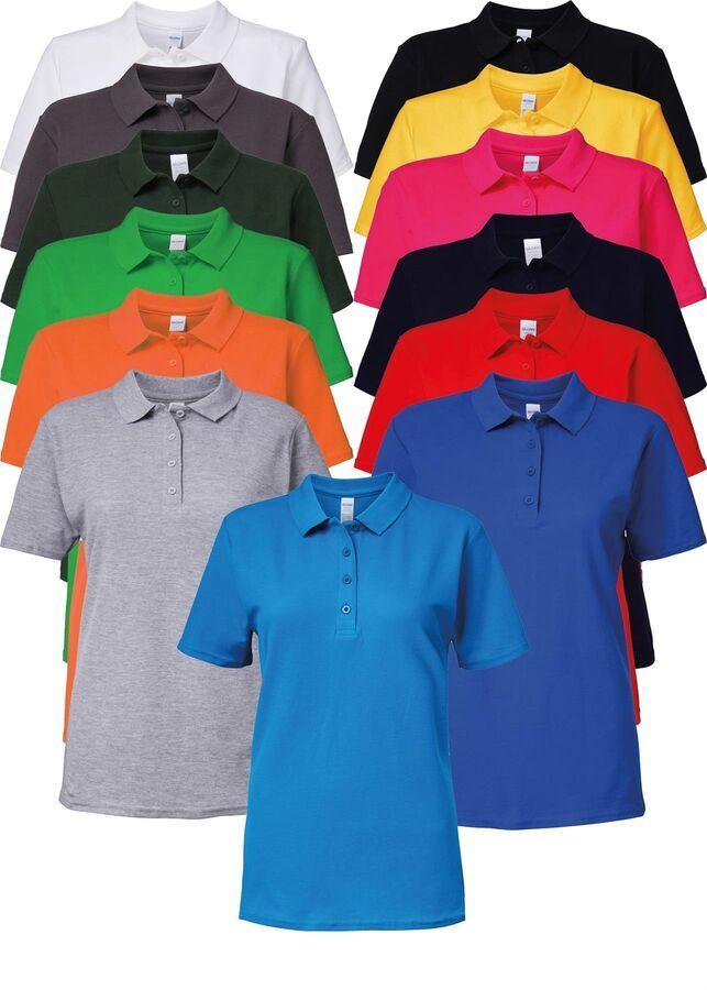 GD018 Gildan Womens Softstyle 100/% Cotton Short Sleeve Double Piqu� Polo t-shirt