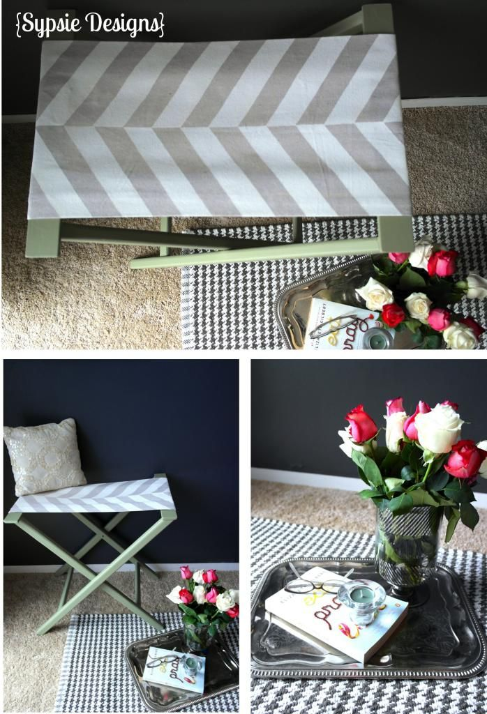 Use A Drop Cloth To Create A DIY Herringbone Pattern Luggage Rack! | Sypsie.