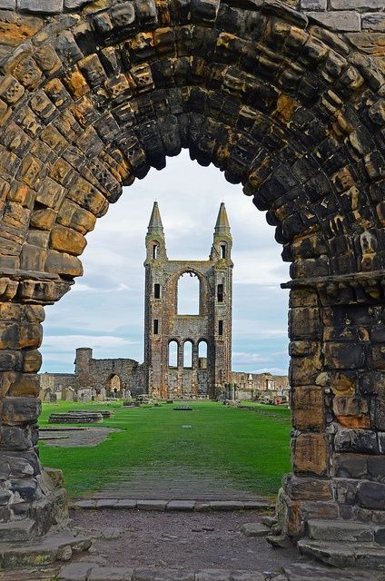 Ruins of ancient St Andrews Cathedral, Scotland
