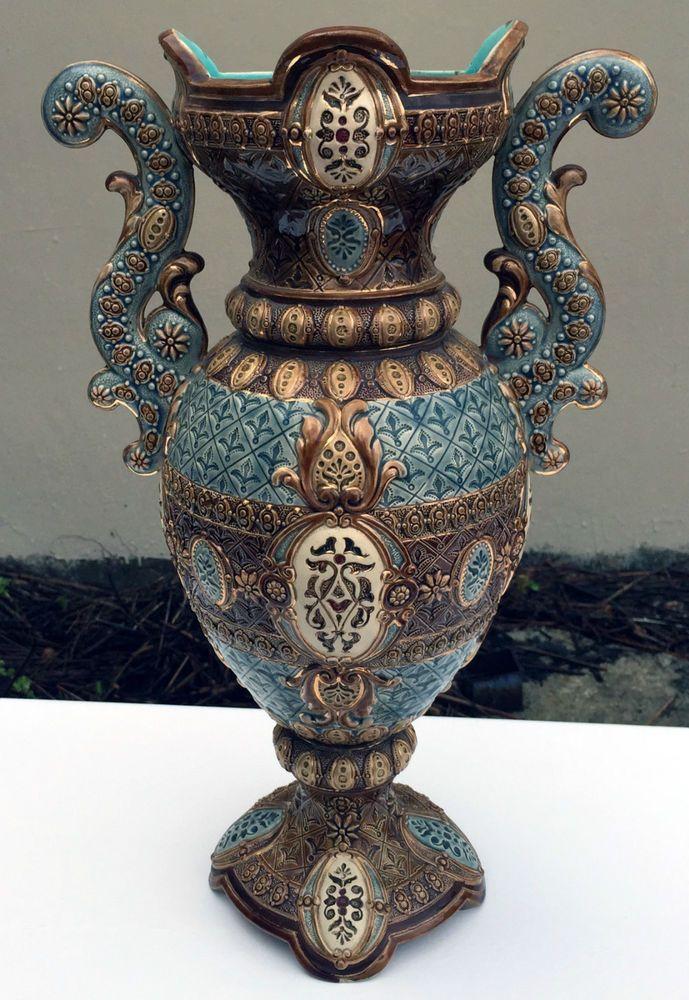 Stunning Large Antique Wilhelm Schiller & Son WS&S Majolica Vase