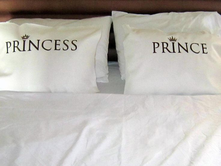 I actually like these pillow cases, His and Hers BEDROOM  SET, Prince-Princess  embroidered pillows, unique pillows, love pillows. $38.00, via Etsy.