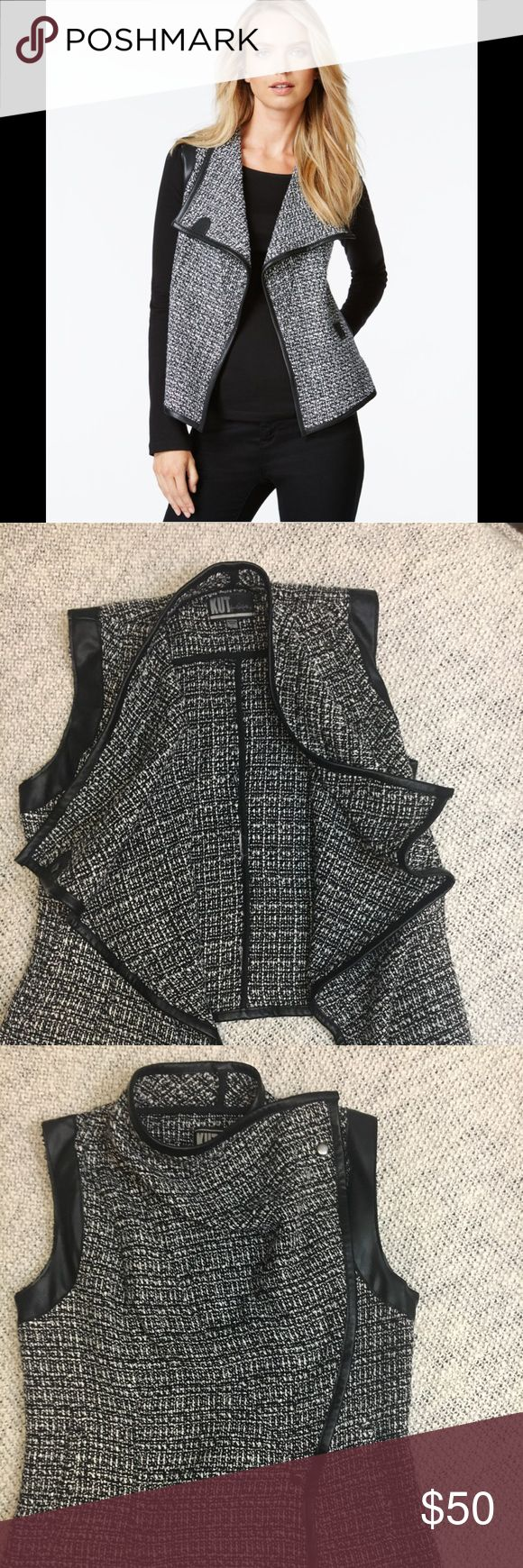 "Kut From The Kloth Black  Faux Leather trim Vest S Perfect on trend textured vest / faux leather trim on a black and grey textured material/ two snaps to create lots of versatility/ size small length 21"" across 17"" all measured on a flat lay Kut from the Kloth Jackets & Coats Vests"