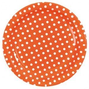 Assiette à pois pas chère, Assiette carton orange à pois blancs 23 cm les 10, Assiette orange à pois blancs ronde, vaisselle jetable, déco de fête, art de table, table festive, anniversaire, baptême, baby shower, mariage, wedding