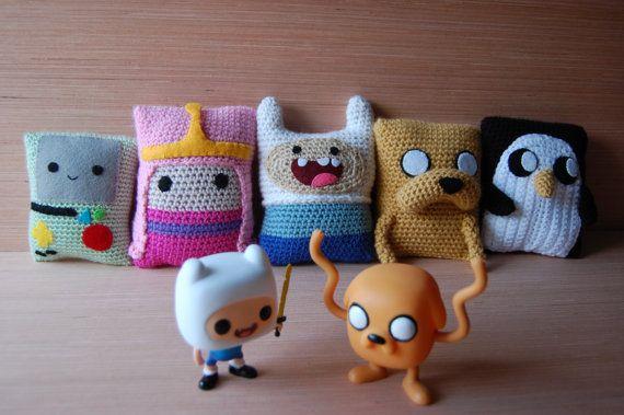 Finn the human, Jake the dog, Princess Bubblegum, Gunter Inspired Adventure Time Crochet Amigurumi by downtherabbitholeSH