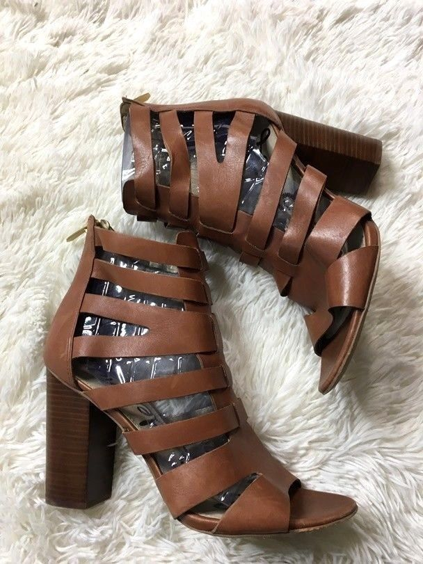 Sam Edleman 10.5 Sandals Camel Brown Leather Open Toe Gladiator Stacked Heels #SamEdelman #Gladiator #Casual