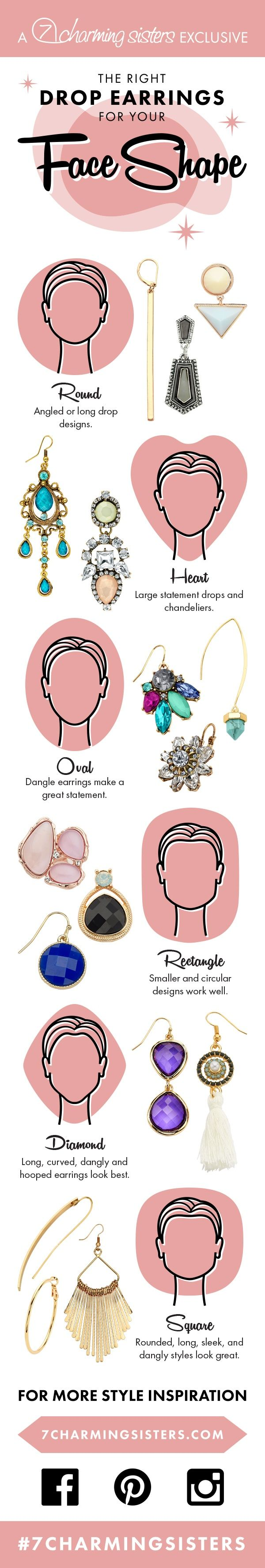 #Earrings for face shape #infographic #faceshape #jewelryforfaceshape…