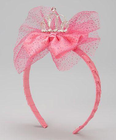 This Fuchsia Glitter Tiara Bow Headband is perfect! #zulilyfinds