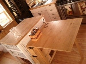 The Center Of Cooking Area Is A Kitchen Island And At End An Ikea Norden Table Gateleg Folds To Narrow Foot Print Less Than