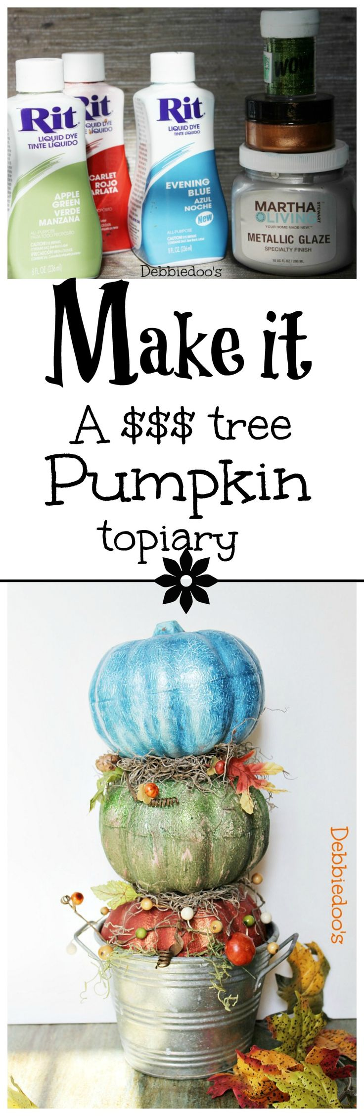 How to make a dollar tree pumpkin topiary and paint your pumpkins with rit dye~~~>wouldn't use blue though