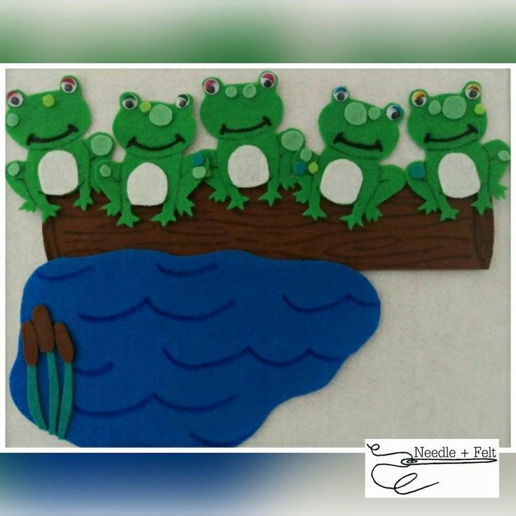5 Speckled Frogs felt set. Great for numeracy, group times and general play!
