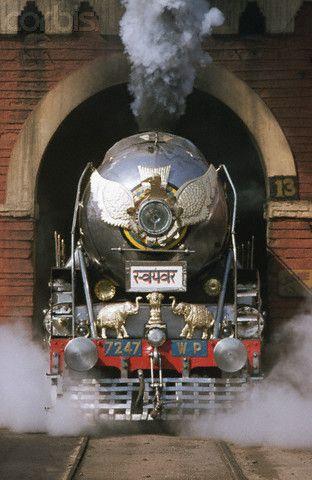 Decorated Indian Railways Steam Locomotive ~Repinned Via X Train www.corbisimages....