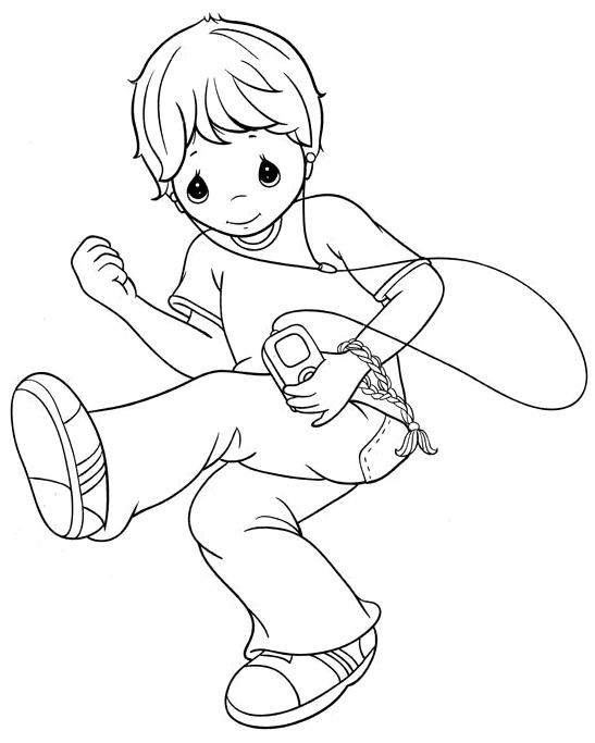 95 coloring page of boy thinking