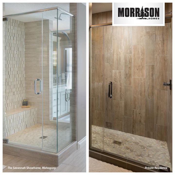 We think both these homes feature elegant shower tile. Contemporary, luxury tile or faux panel hardwood tile - which do you prefer?
