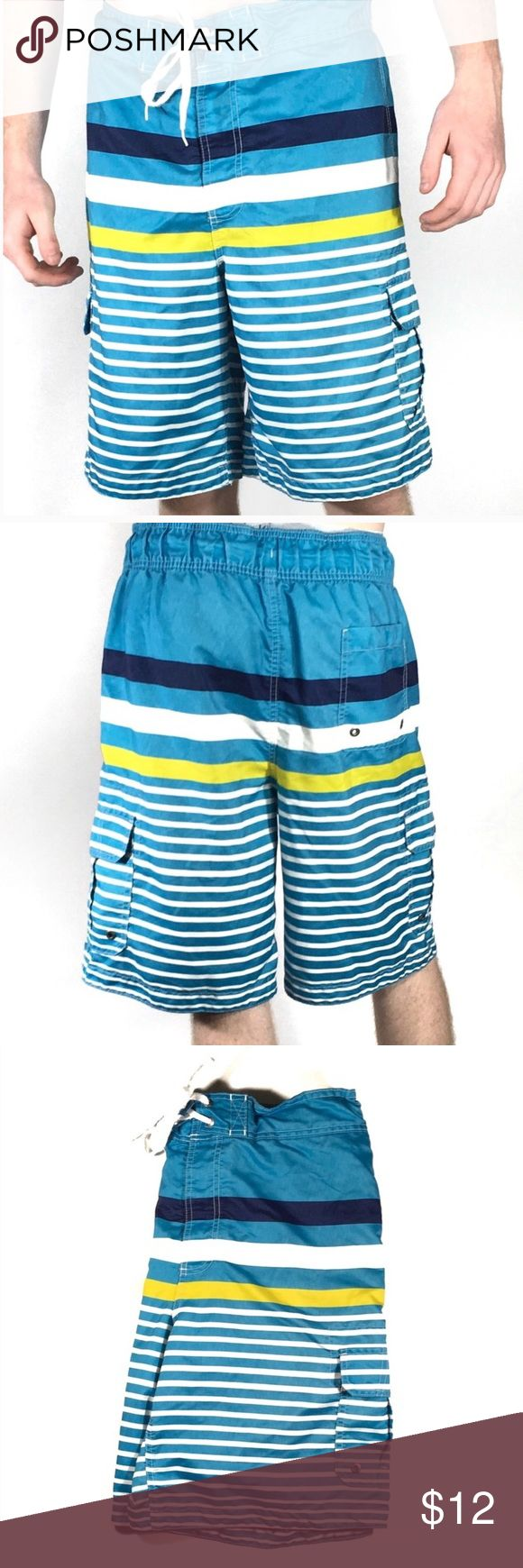 Merona Men's Swim Trunks Merona Men's Swim Trunks   Men's swim shorts with Velcro cargo pockets. Velcro/tie waist. They have the netting in them. Interior key pocket. In great condition. Merona Swim Swim Trunks