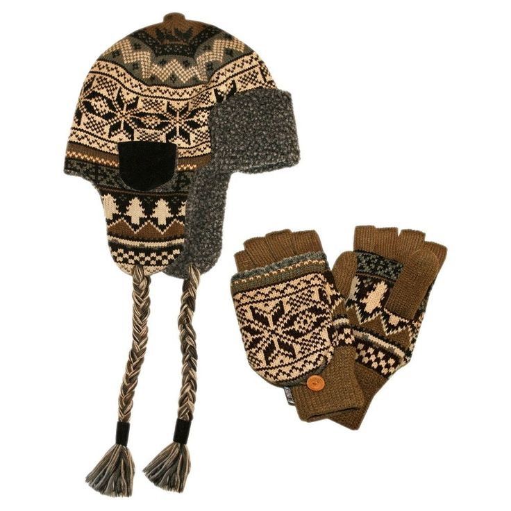 Men's Trapper Hat With Flip Mitten Set - Brown