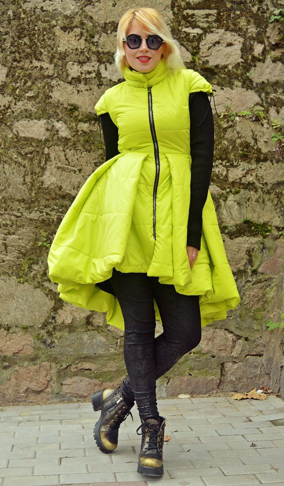 Yellow Padded Jacket with Acrylic Sleeves / Yellow Padded by Teyxo