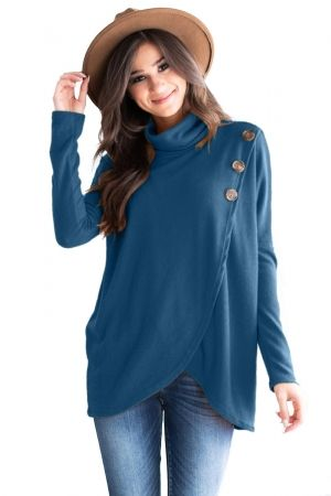 3d3d6d08eed Slate Blue Button Cowl Neck Overlap Tunic Top   blouses&tops   Tunic ...