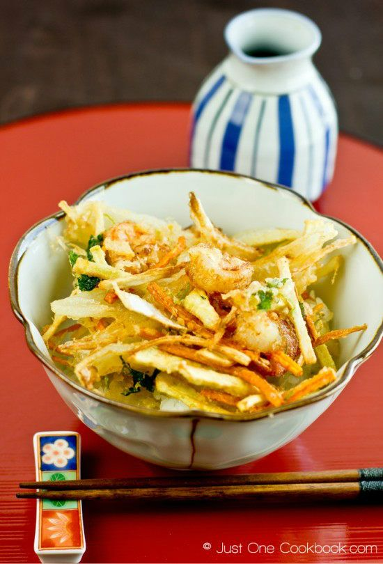 Kakiage Don  |  Kakiage don is a delightful donburi with fried shrimp, vegetable tempura, and poured with home-made tempura sauce over rice.  |  justonecookbook