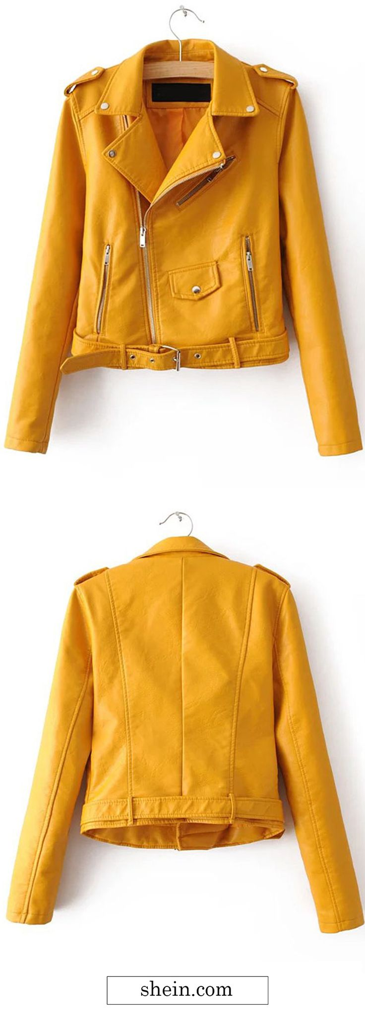 Yellow Faux Leather Belted Moto Jacket With Zipper