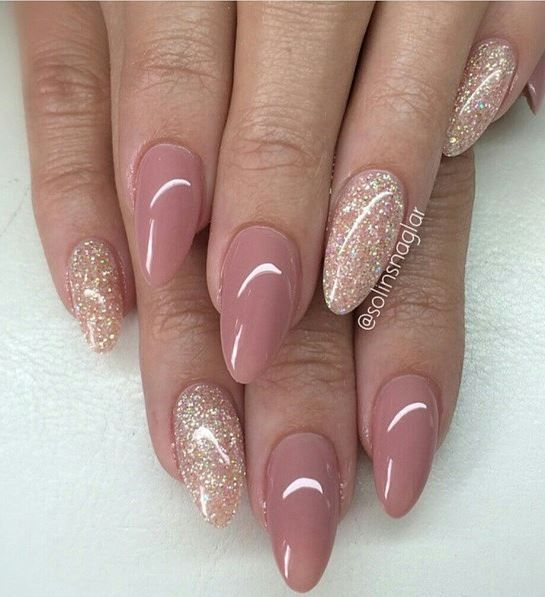 glitter with taupe neutral nails