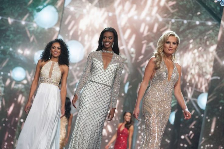 Kára McCullough, Miss District Of Columbia USA 2017; India Williams, Miss California USA 2017; and Alee-Sutton Hethcoat, Miss Tennessee USA 2017; compete as a top 10 finalists in their evening gown during The 2017 MISS USA® Competition. Photo: Miss Universe Organization