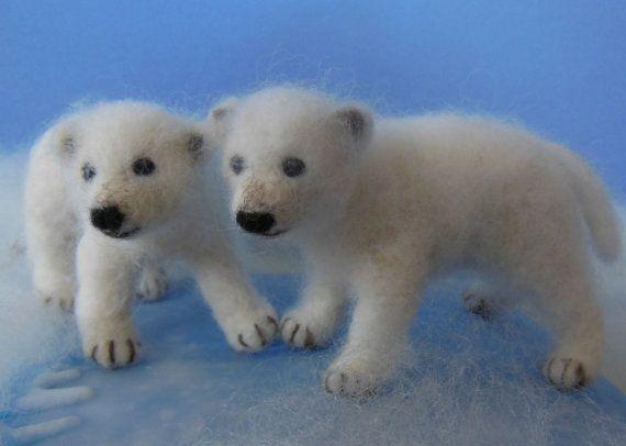 Needle Felted Polar Bear Cub Poseable by ClaudiaMarieFelt on Etsy, $80.00