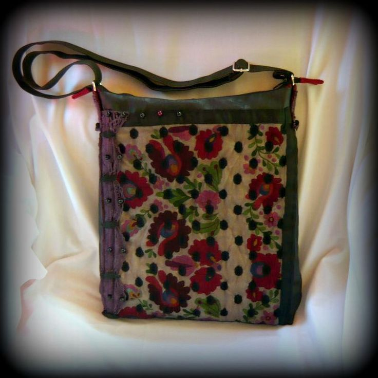Handmade by Judy Majoros - Kalocsai Embroidery - Hungarian polka dots crossbody bag-shoulder bag. Recycled bag. Polka dots tulle-black textile leather. Beaded.